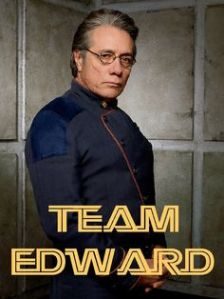 Edward James Olmos as Admiral Adama on the 2004-09 version of