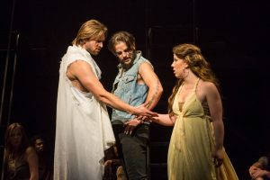From left, Patrick Clements, Joe Doyel and Julia Perillo as Jesus, Judas and Mary Magdalene in Bobdirex's production of
