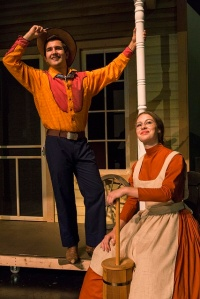 "Nick Gehring (Curly) and Emma Rund (Aunt Eller) in the Young Adults production of ""Oklahoma!"" at the Booth Tarkington Civic Theatre in Carmel. -- Civic Theatre photo"
